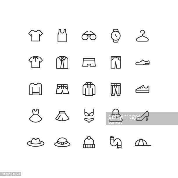outline clothes icons - dress stock illustrations