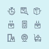 Outline Delivery, shipment, cargo icons for web and mobile design pack 3