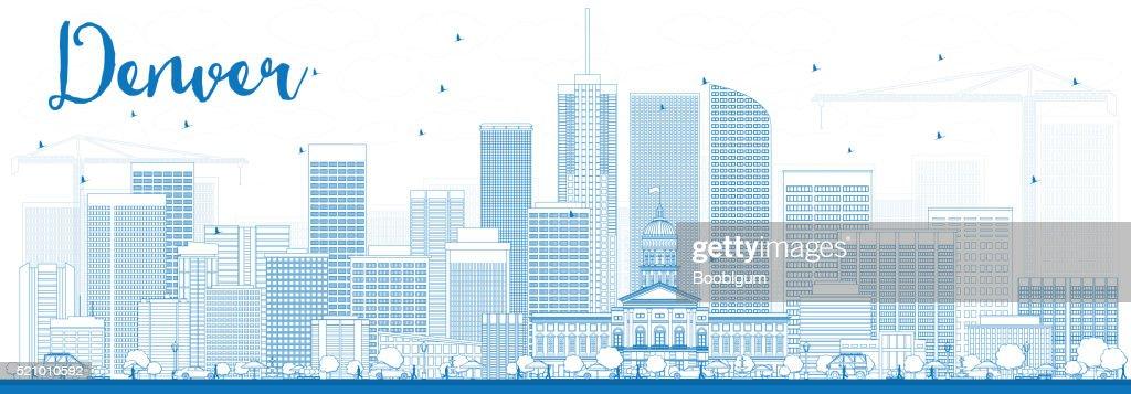 Outline Denver Skyline with Blue Buildings.