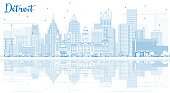 Outline Detroit Skyline with Blue Buildings and Reflections.