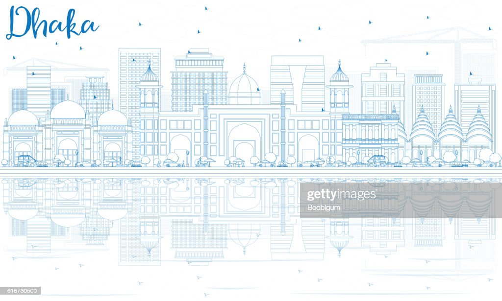 Outline Dhaka Skyline with Blue Buildings and Reflections.