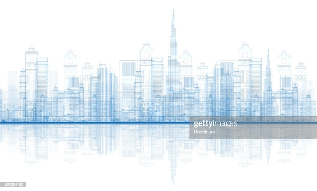 Outline Dubai City Skyscrapers Skyline with Reflections.