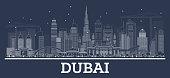 Outline Dubai UAE Skyline with Modern Architecture.