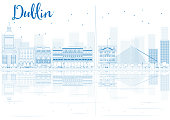 Outline Dublin skyline with blue buildings and reflections.