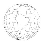 Outline Earth globe with map of World focused on South America. Vector illustration