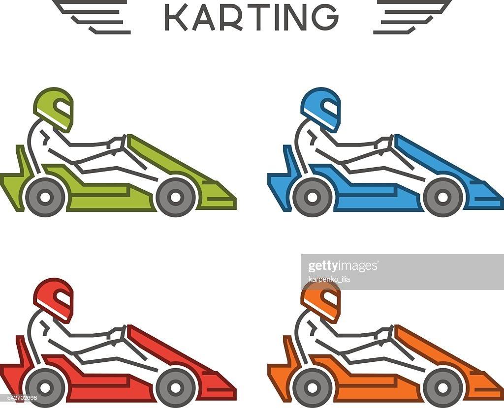 Outline go kart symbol. Vector line karting icons.