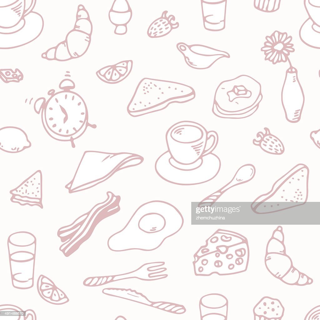 Outline hand drawn breakfast seamless pattern