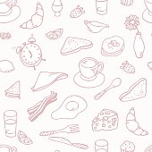 Outline hand drawn breakfast seamless pattern