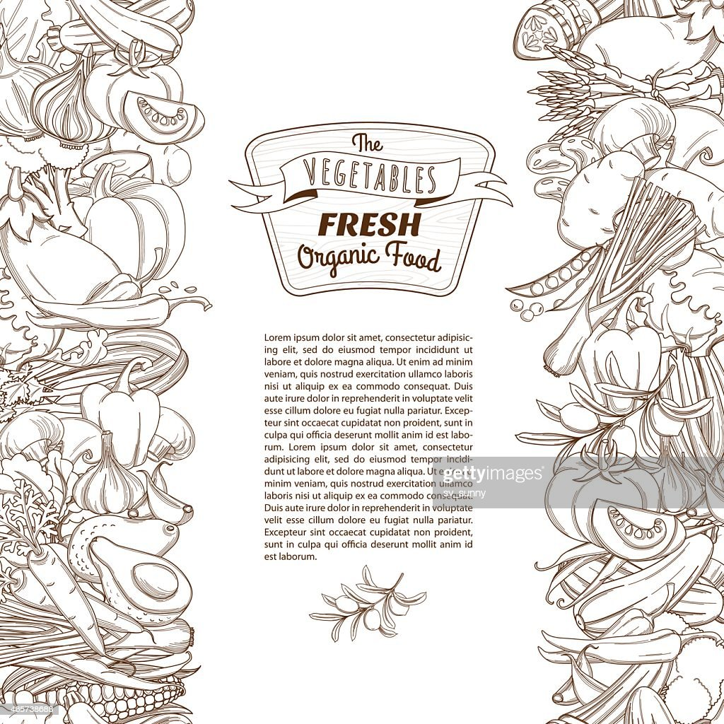 Outline hand drawn sketch seamless vegetable border (flat style,