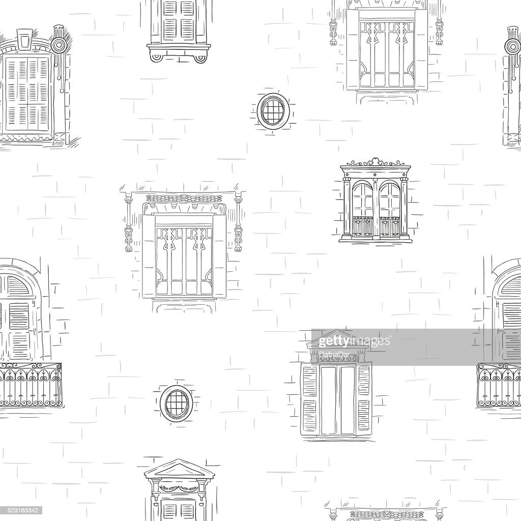 Outline hand drawn windows pattern background. Vintage architecture line wallpaper