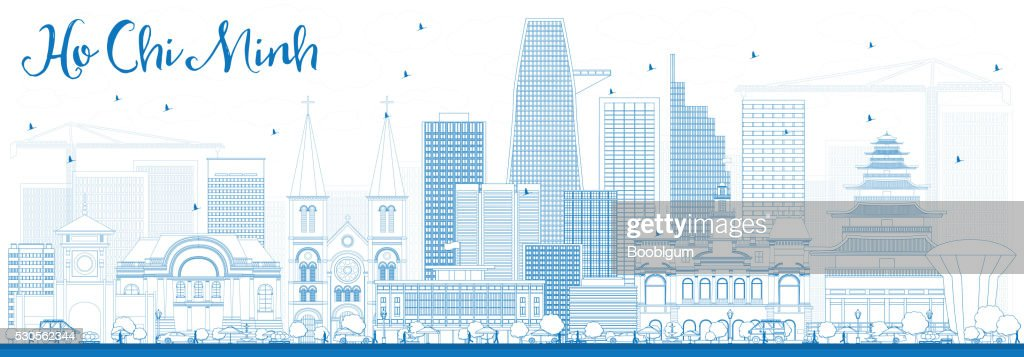 Outline Ho Chi Minh Skyline with Blue Buildings.