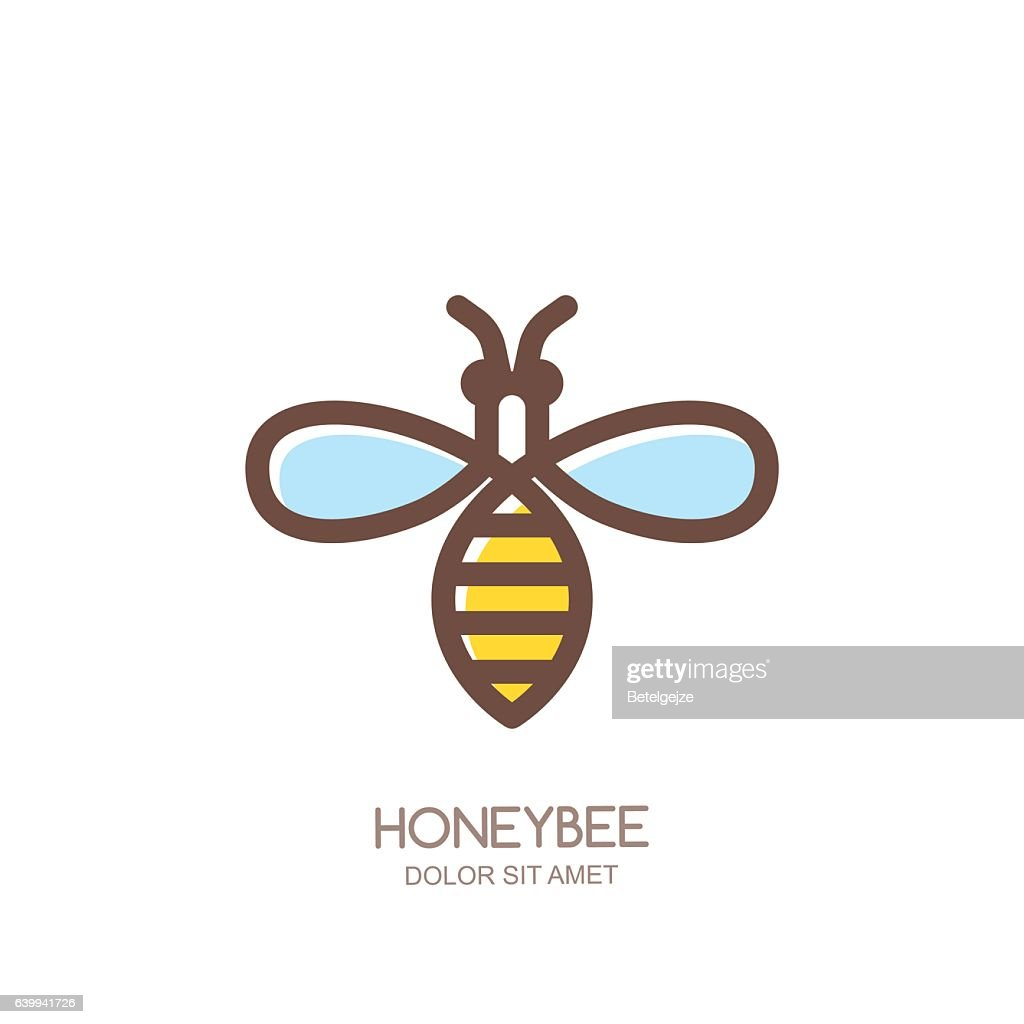 outline honeybee emblem or icon linear bee isolated on white vector