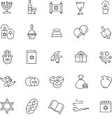 Outline icon collection - Symbols Of Hanukkah