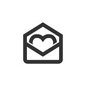 Outline Icon - Envelope heart