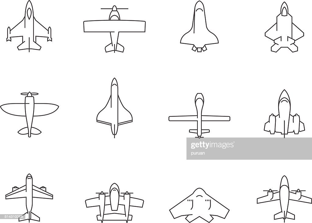 Outline Icons - Airplanes