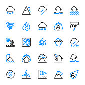 25 Outline icons of natural disasters