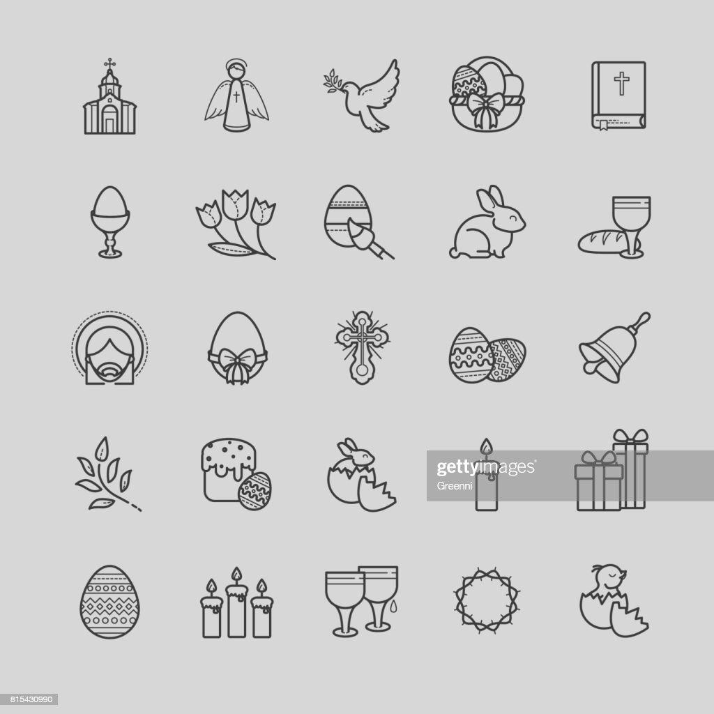 Outline icons set - easter symbols, spring