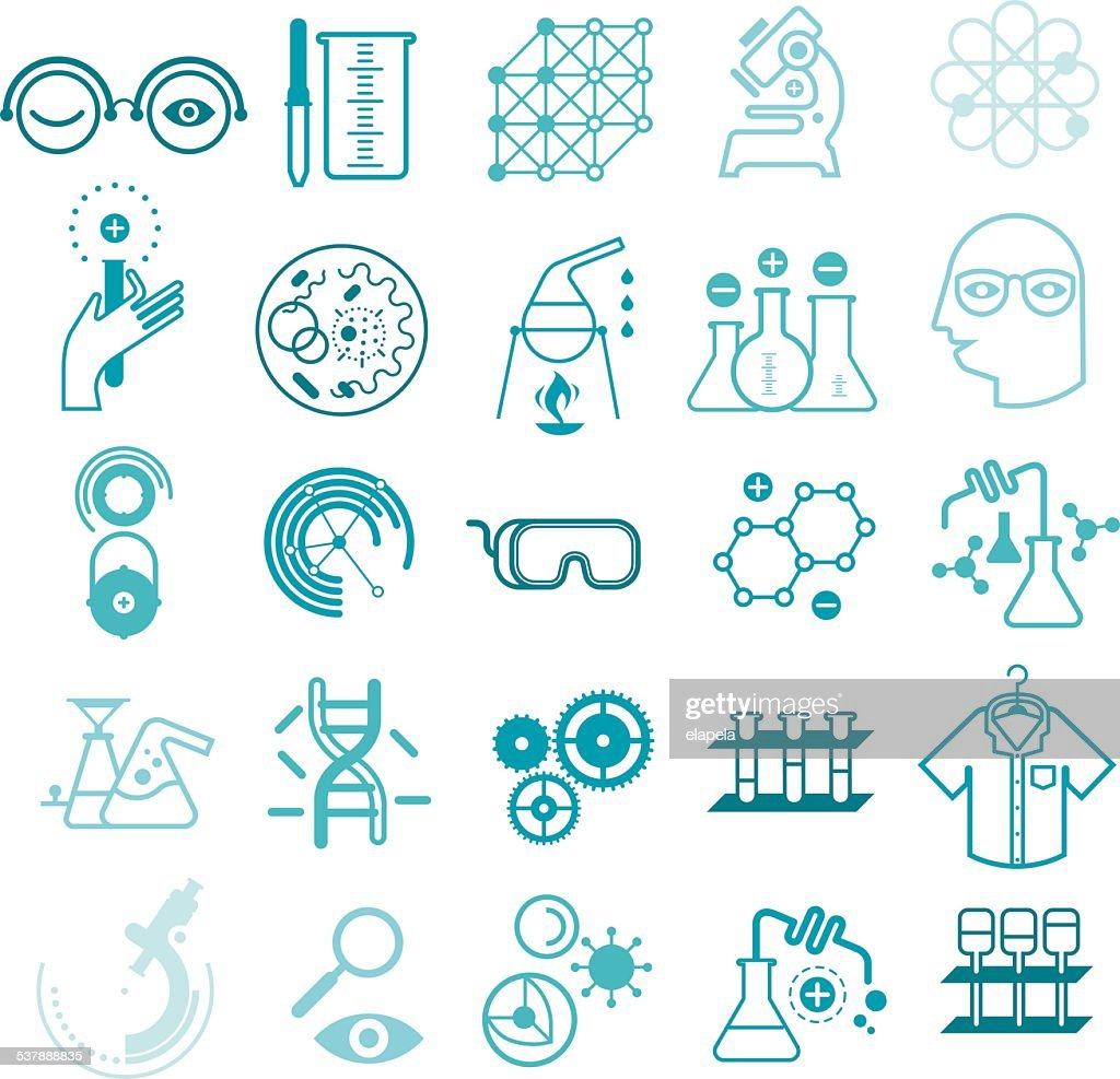 Outline icons with chemistry and science symbols