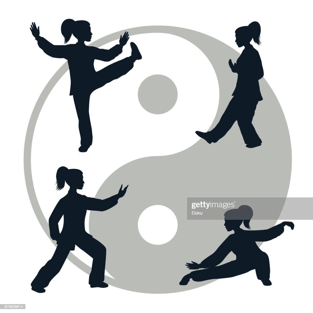Outline illustration of Tai Chi isolated on white background
