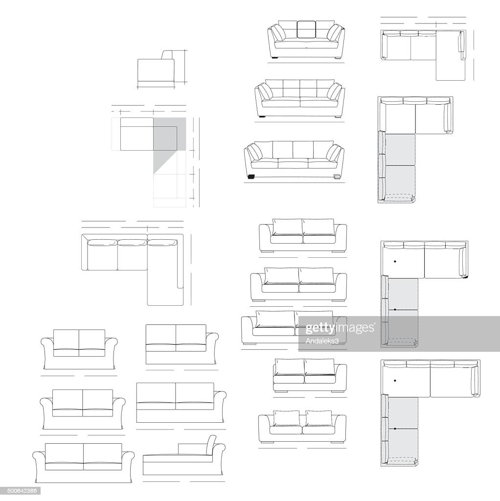 Outline Illustration Of The Couch Vector Art Getty Images
