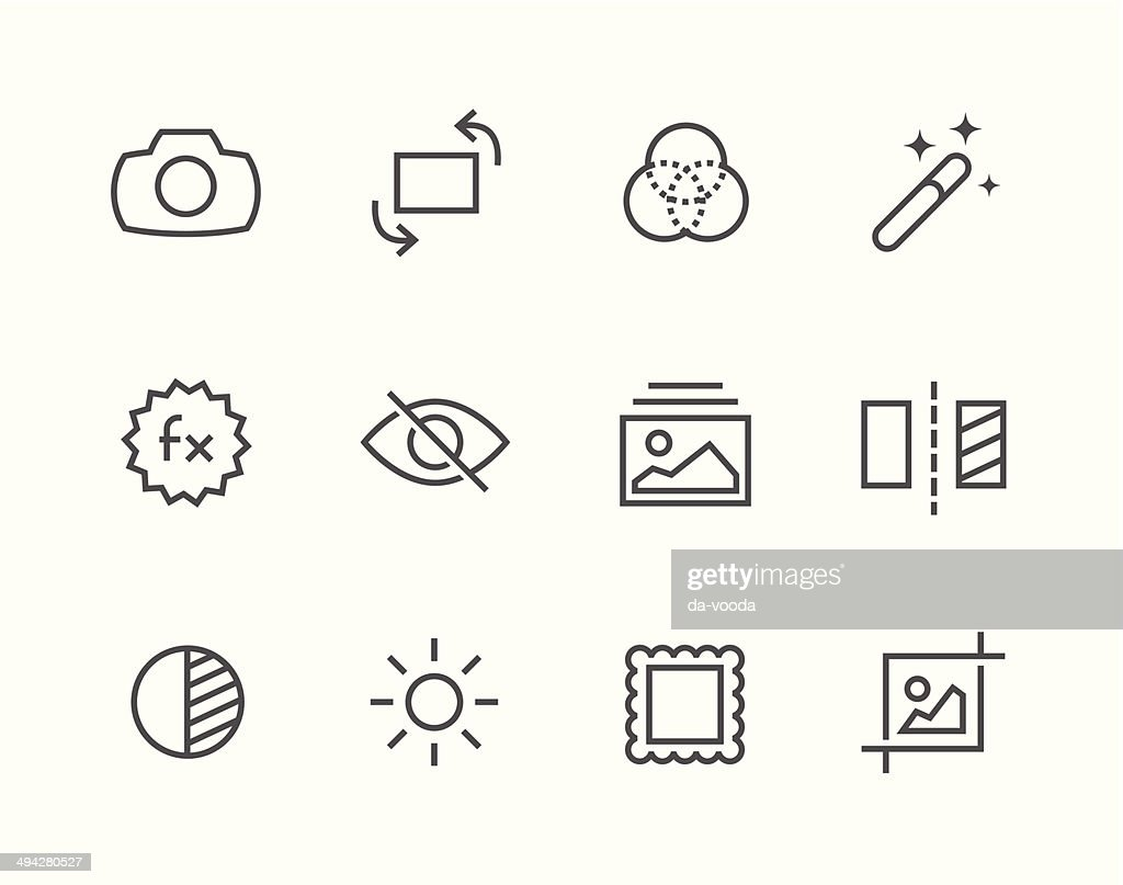 Outline Image Editing Icons