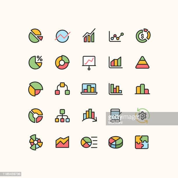 gliederungsinfografik geschäftssymbole - liniendiagramm stock-grafiken, -clipart, -cartoons und -symbole