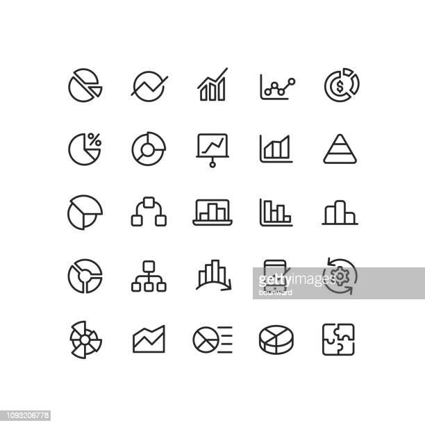 outline infographic icons - line graph stock illustrations