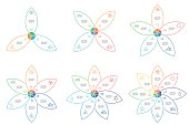 Outline infographics with 3 - 8 steps, petals. Vector templates.