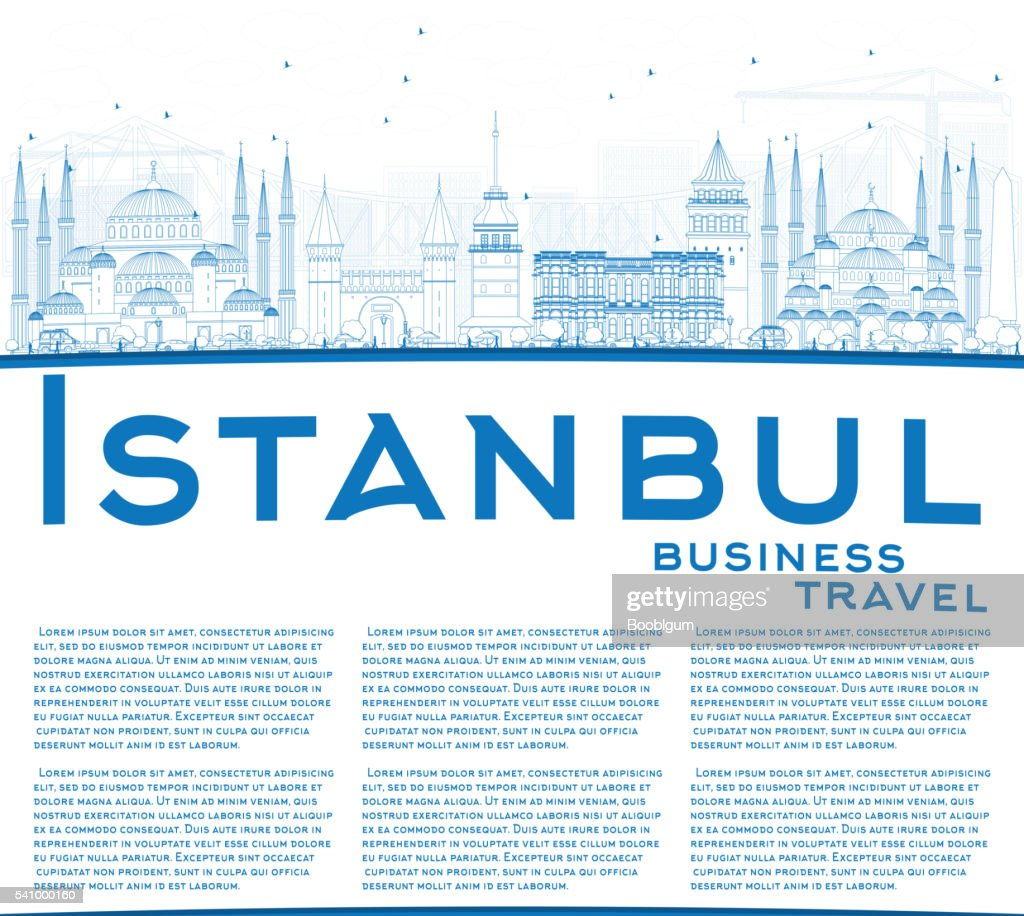 Outline Istanbul Skyline with Blue Landmarks and Copy Space.