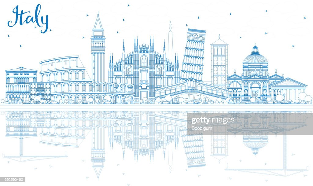 Outline Italy Skyline with Blue Landmarks and Reflections.