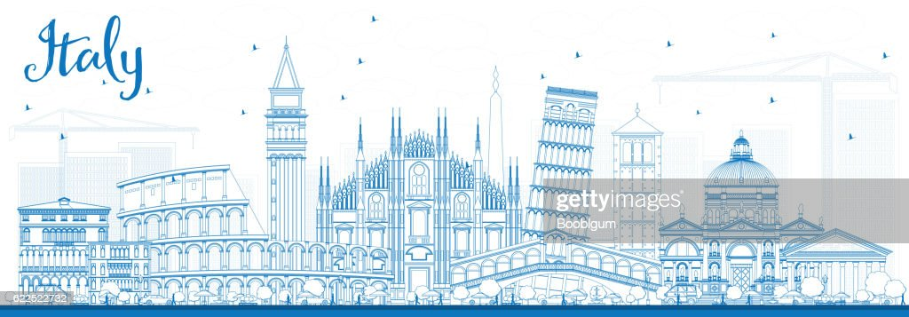 Outline Italy Skyline with Blue Landmarks.