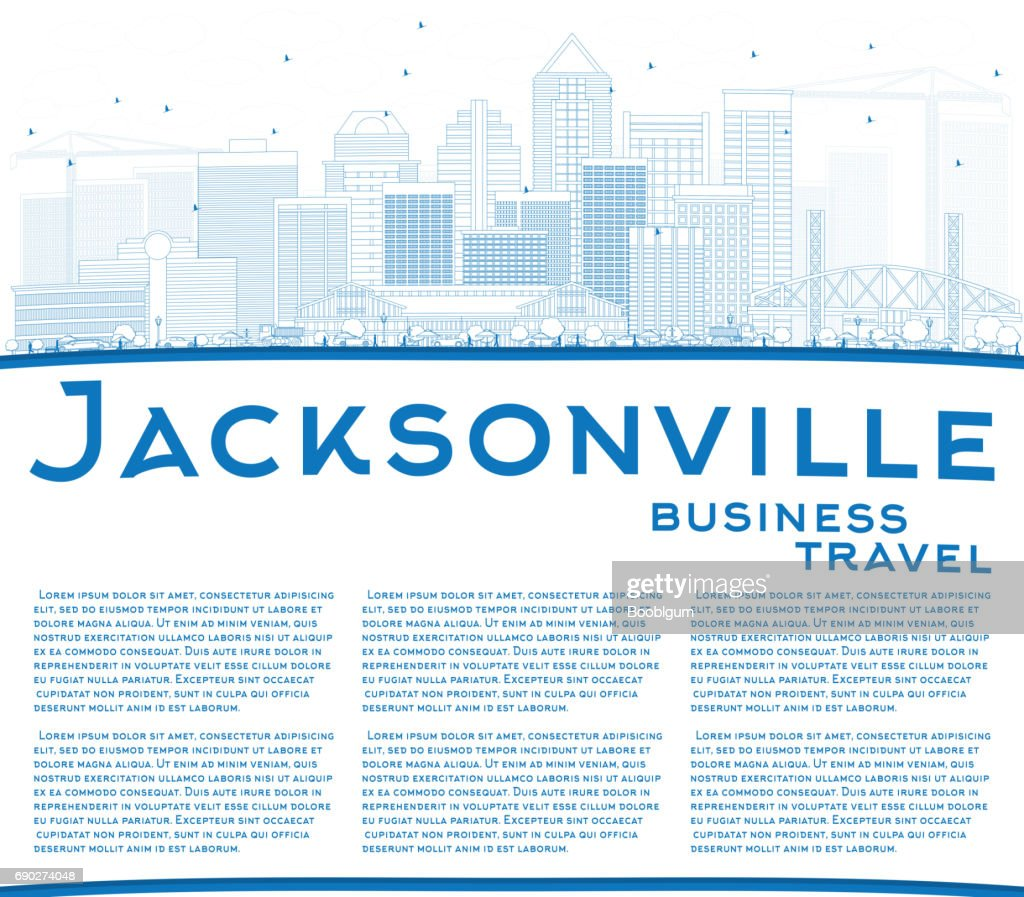 Outline Jacksonville Skyline with Blue Buildings and Copy Space.