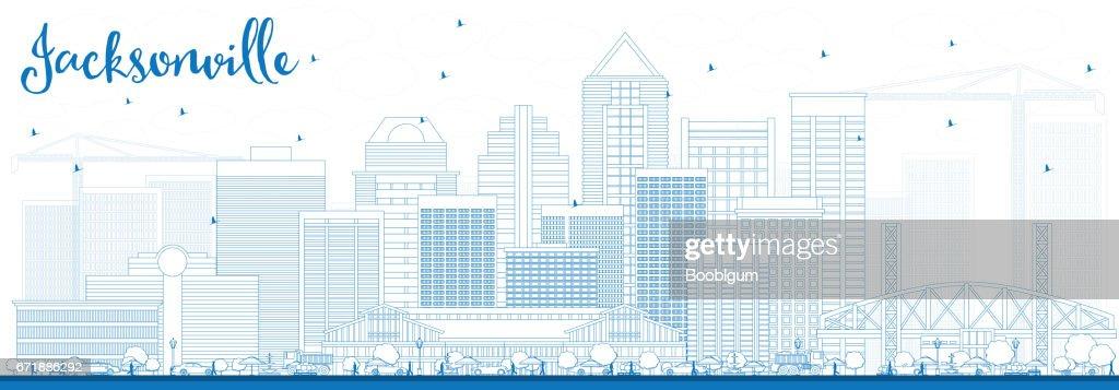 Outline Jacksonville Skyline with Blue Buildings.