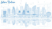 Outline Johor Bahru Malaysia Skyline with Blue Buildings and Reflections.