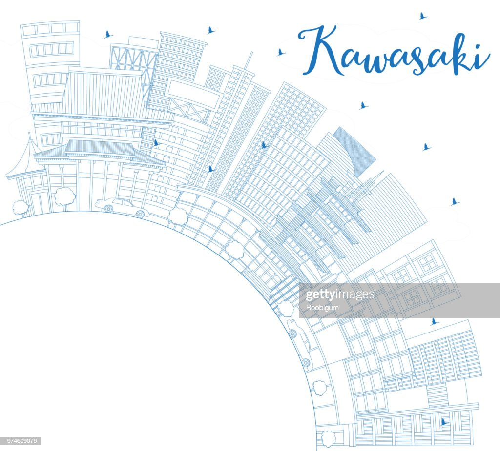 Outline Kawasaki Japan City Skyline with Blue Buildings and Copy Space.