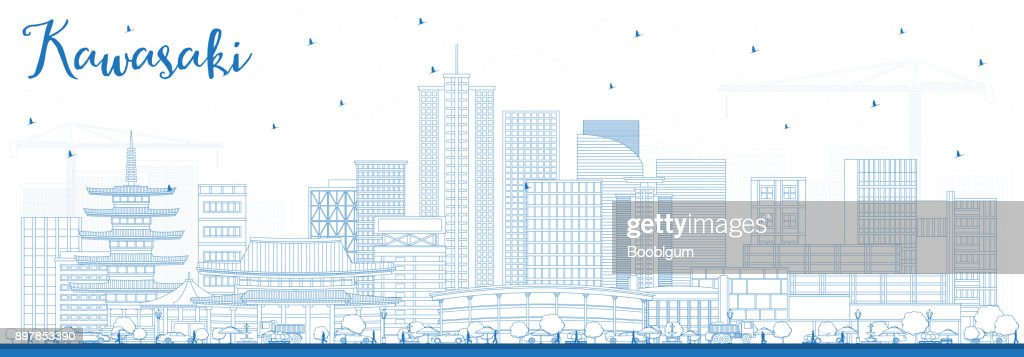 Outline Kawasaki Japan City Skyline with Blue Buildings.