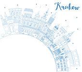 Outline Krakow Poland City Skyline with Blue Buildings and Copy Space.