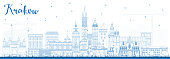 Outline Krakow Poland City Skyline with Blue Buildings.