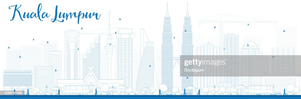 Outline Kuala Lumpur Skyline with Blue Buildings