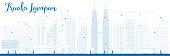 Outline Kuala Lumpur Skyline with Blue Buildings