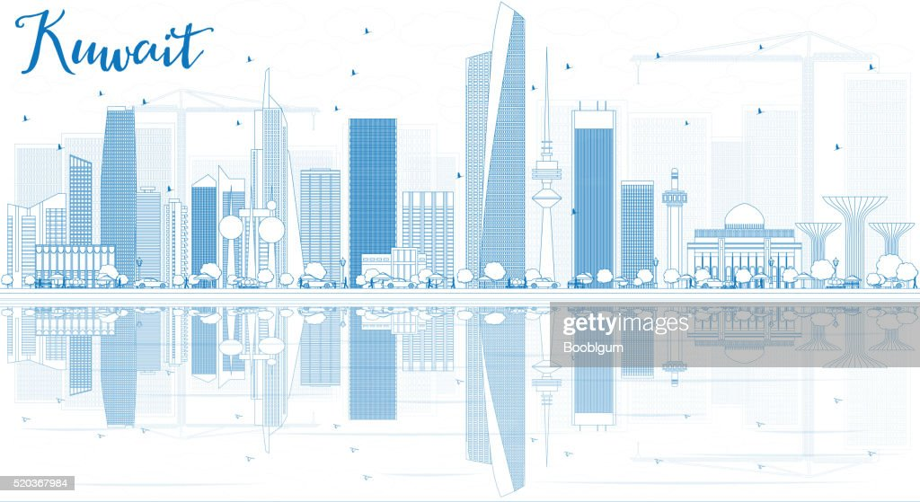 Outline Kuwait City Skyline with Blue Buildings and Reflections.
