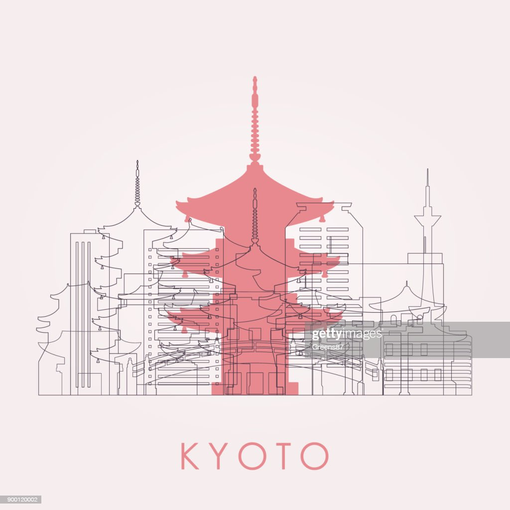 Outline Kyoto skyline with landmarks. Vector illustration. Business travel and tourism concept with historic buildings. Image for presentation, banner, placard and web site.