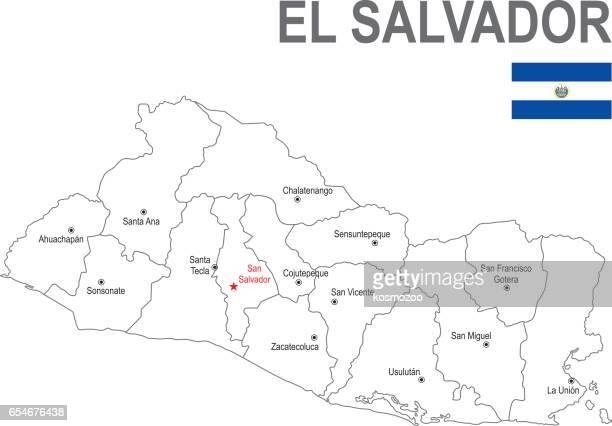 フラグとエルサルバドルの概要地図 - エルサルバドル国旗点のイラスト素材/クリップアート素材/マンガ素材/アイコン素材