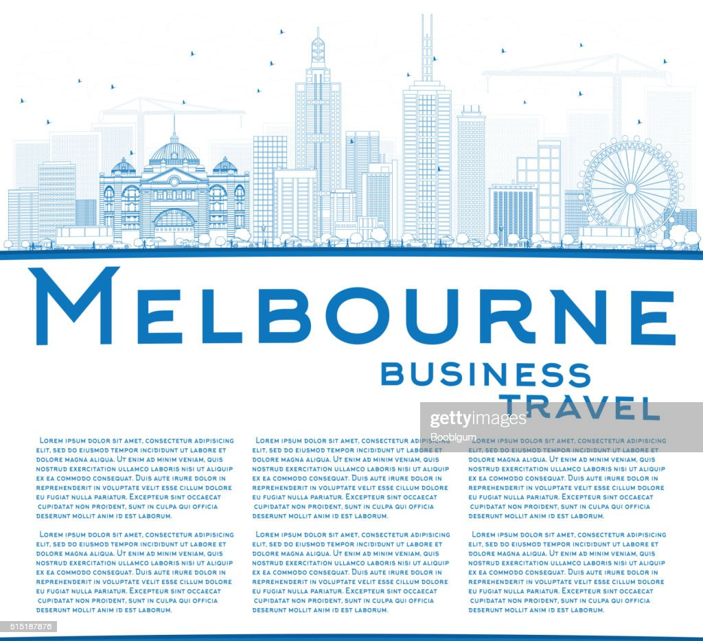 Outline Melbourne Skyline with Blue Buildings.