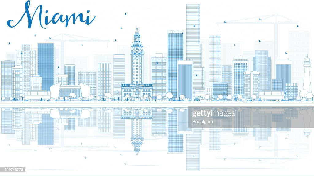 Outline Miami Skyline with Blue Buildings and Reflections.