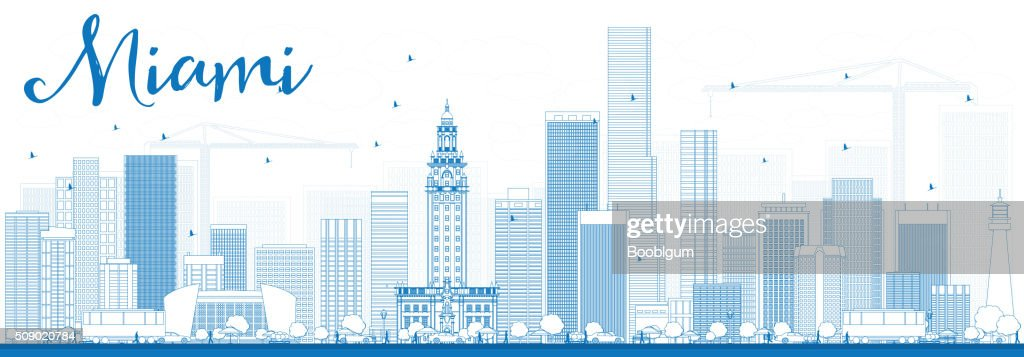 Outline Miami Skyline with Blue Buildings.
