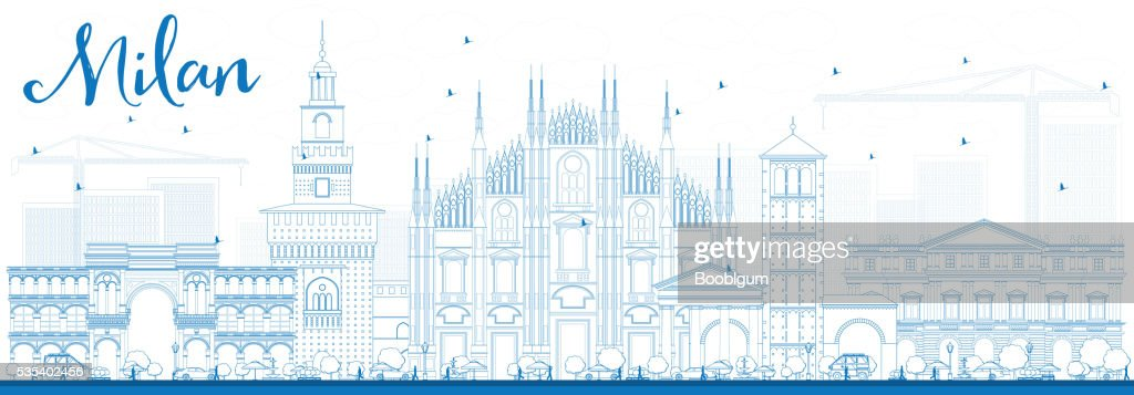 Outline Milan Skyline with Blue Landmarks.