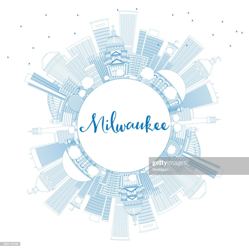 milwaukee tools logo vector. outline milwaukee skyline with blue buildings and copy space. tools logo vector