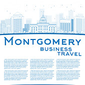 Outline Montgomery Skyline with Blue Buildings and copy space