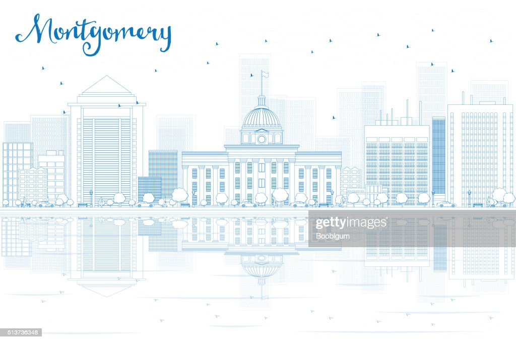 Outline Montgomery skyline with blue buildings and reflections.